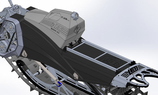 A CAD rendering of the Yeti fuel tank and cargo rack.