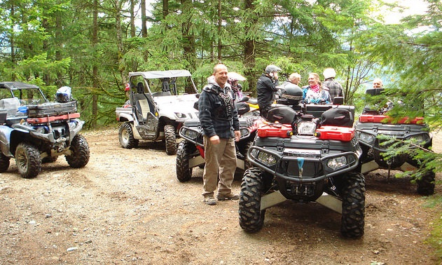 A group of ATVers from the LMATV club stopped along the trail while on a day ride to North Cheebalis Lake, near Harrison Lake area.
