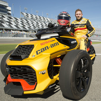 NASCAR Sprint Cup Series driver Jeffrey Earnhardt sits on the recently unveiled Can-Am Spyder F3 Turbo Concept Vehicle.