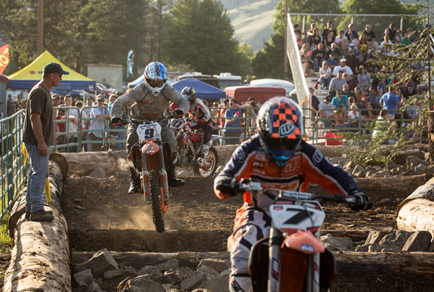 Bobby Prochnau chasing down Kyle Redmond at the LoggerXross in Orofino.