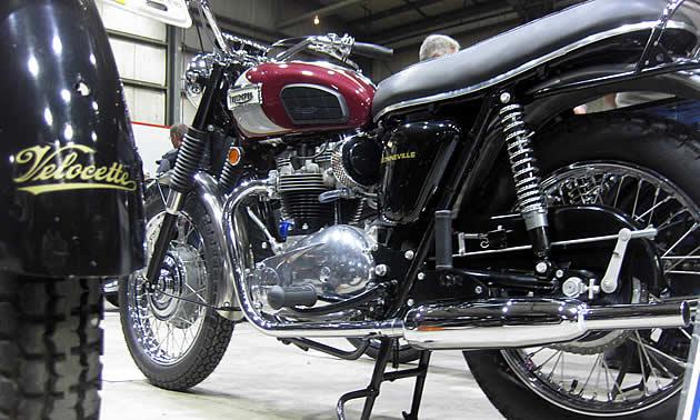 A Triumph Bonneville motorcycle.