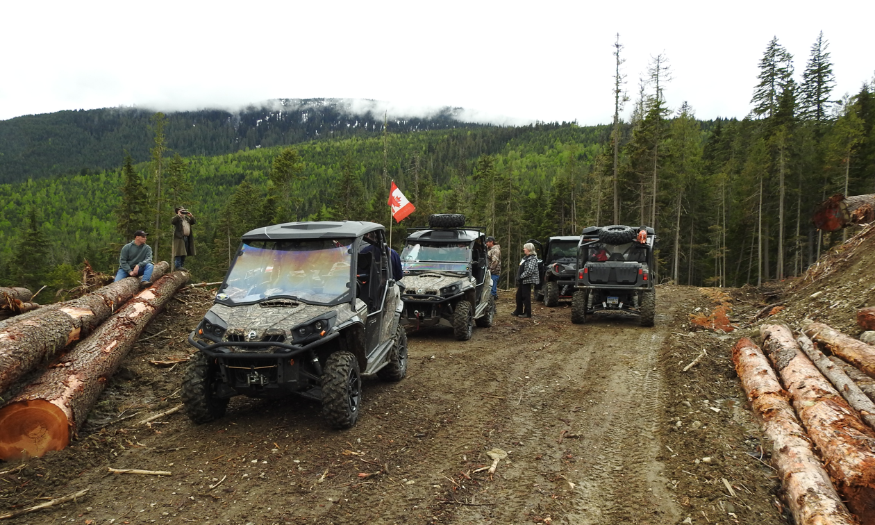A few ATVs are parked on a dirt trail next to cut-down logs.