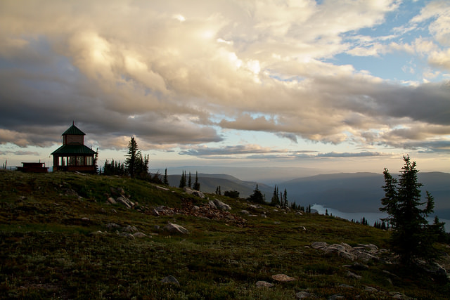 Sugar Mountain Fire Lookout at sunset.