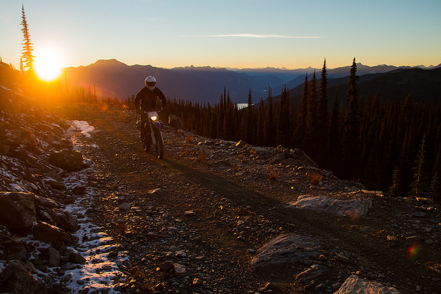 Steve Shannon Silvercup Ridge riding the trails to Trout Lake, B.C.