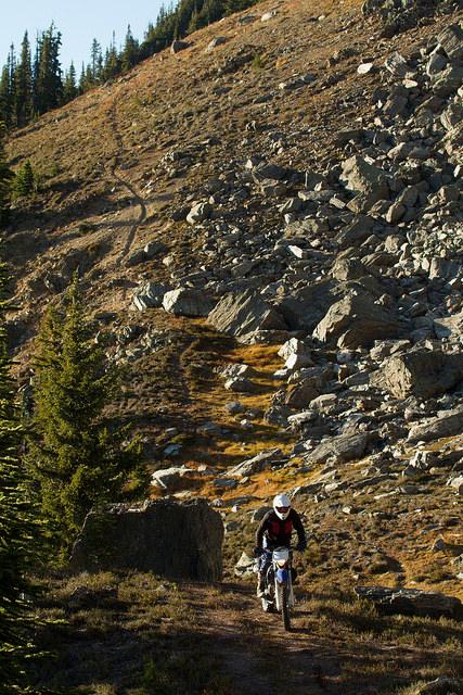 Steve Shannon riding down Silvercup Ridge at Trout Lake, B.C.