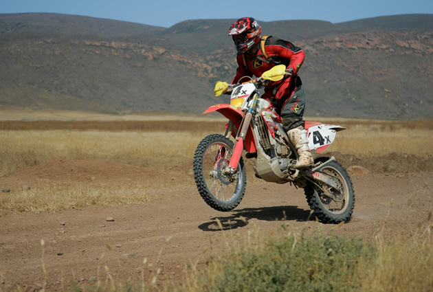 A motorcycle rider in the Baja 500 race.