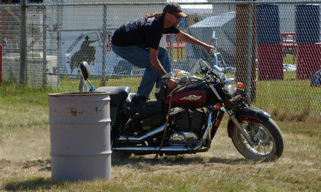 Rick Dakota doing stunts on his motorcycle