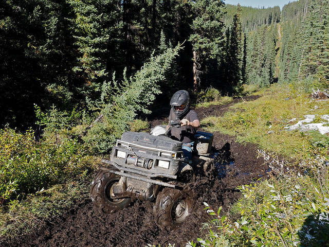 Shirley Arnold makes her Polaris 550 work a little getting her through the mud on a trail in Tay River area.
