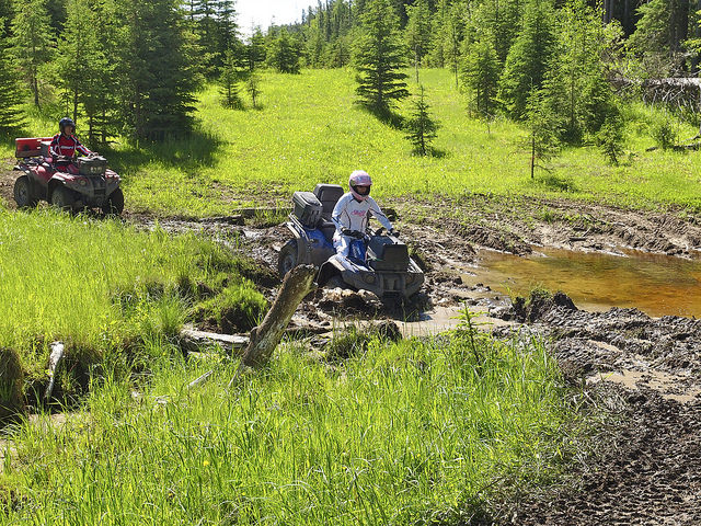 Carole Collins takes on a mudhole on a trail north of Burntstick Lake on a ride to the Clearwater River