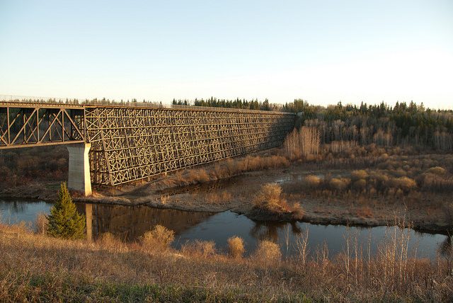 The famous trestle bridge located near Cold Lake on the Iron Horse Trail.