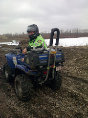 Officer Mark Elwood, OHV Officer / Community Patrol Officer, hard at work with a Quadbar on his ATV.