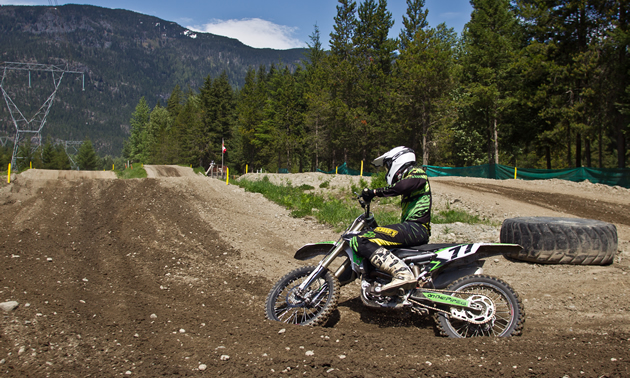 A rider rounding one of the corners at the Green River MX Track.