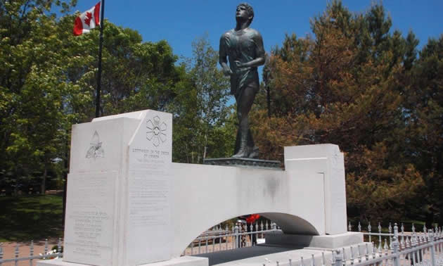 Memorial statue for Terry Fox.