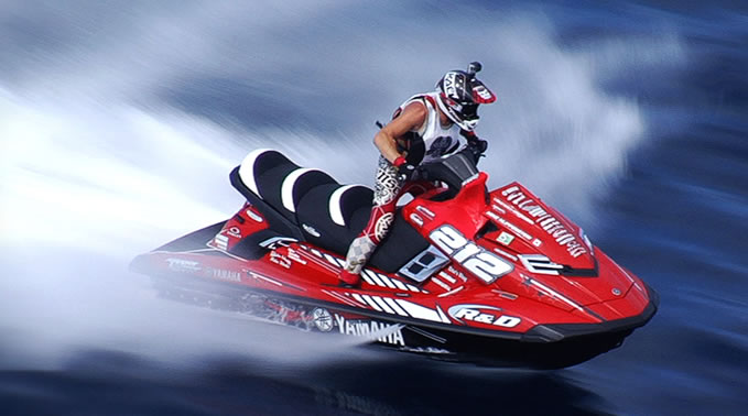 Mike Klippenstein racing on a personal watercraft.