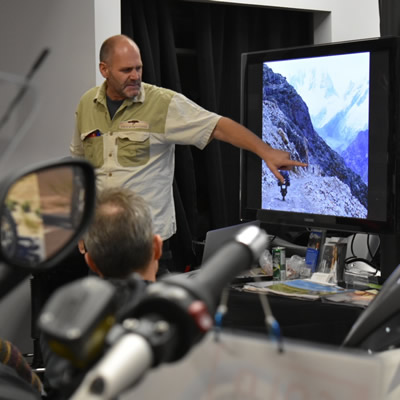 Rene Cormier at a recent adventure motorcycle talk in Vancouver.