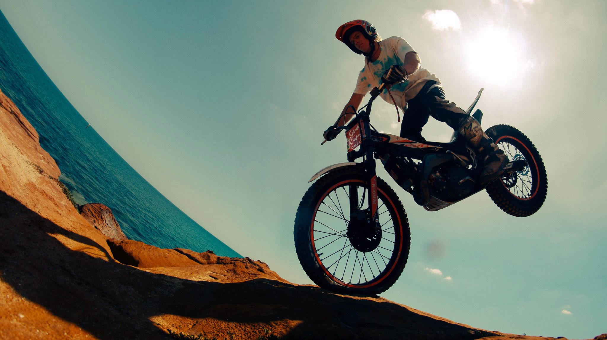 Sam King on a trials bike in Australia.