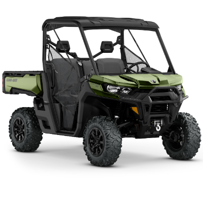 A stock photo of a green Can-Am Defender.