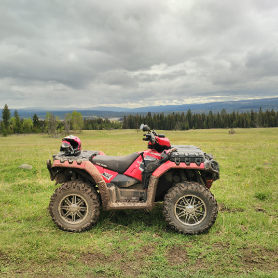 An ATV on grassland.
