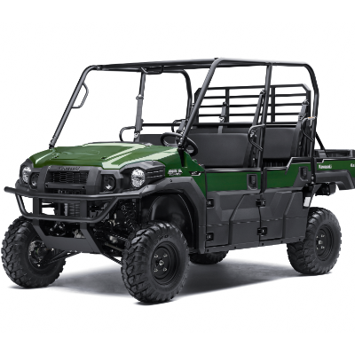 A stock photo of a green Kawasaki MULE PRO.