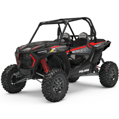 A stock photo of a red Polaris RZR XP 1000.