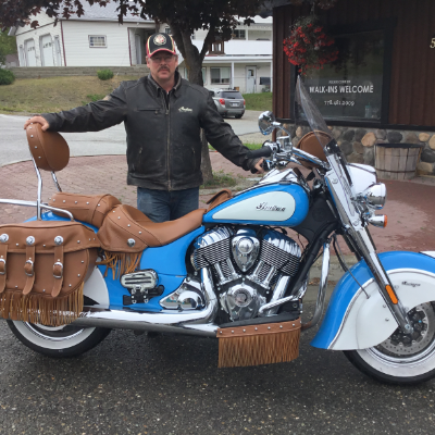 Doug Dickson is pleased with his new purchase, a 2018 Indian Chief Vintage.