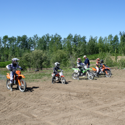 Motocross racers line up for a race