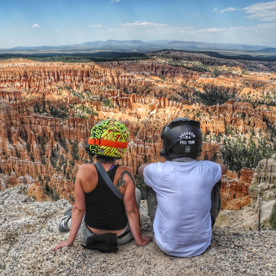 Kevin Chow sits beside his girlfriend, Claire Newbolt, in Bryce Canyon in Utah.