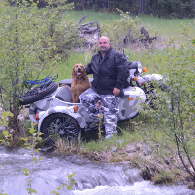 Shawn Dergousoff and his dog Wilma.