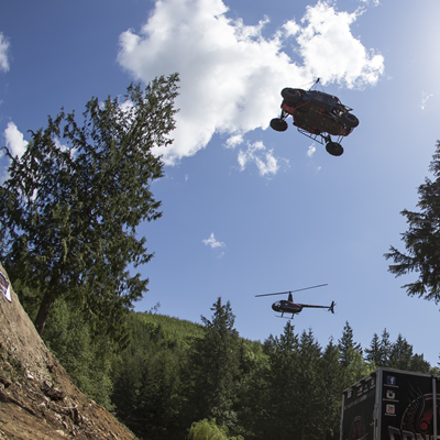 Al McBeth and Concept Distributing flying 198 feet through the air on a Polaris RZR side by side.