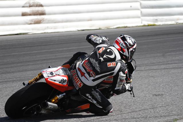 Darren James on a Harley Davidson XR1200.