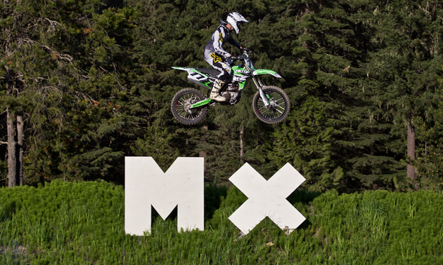The big MX sign at the finish line jump can be seen from the highway.