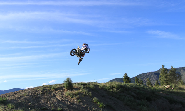 Nick Antle whips it over the jumps at Kamloops mx track.