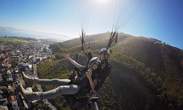 Rosie Gabrielle paragliding in Cape Town.