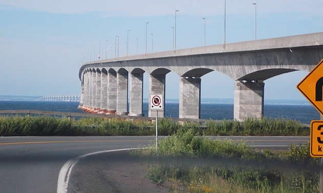 Confederation Bridge from the New Brunswick side.