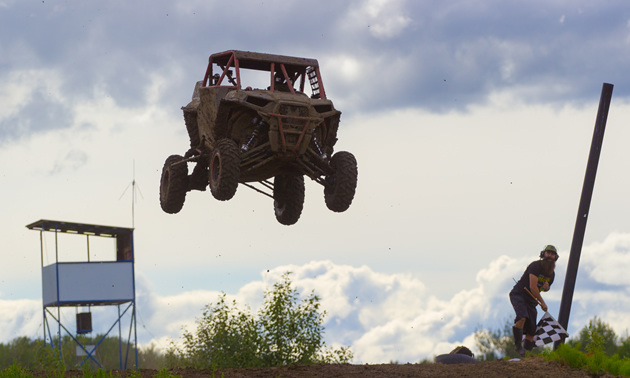 Al McBeth in a Polaris RZR getting air in Kamloops, B.C.
