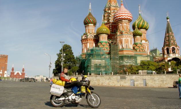 Glen Heggstad took a casual break in Red Square outside of St. Basil's Cathedral in Moscow, Russia.