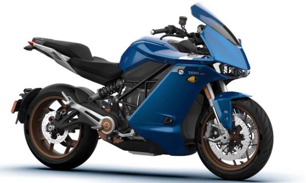 A blue Zero SR/S motorcycle.