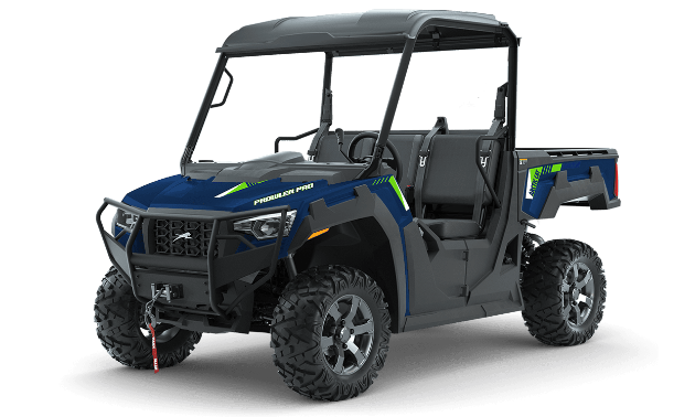 A blue and black 2021 Arctic Cat Prowler Pro side-by-side.