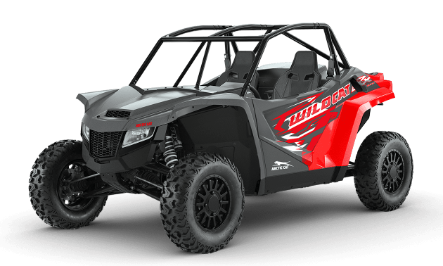 A red and black 2021 Arctic Cat Wildcat XX side-by-side.