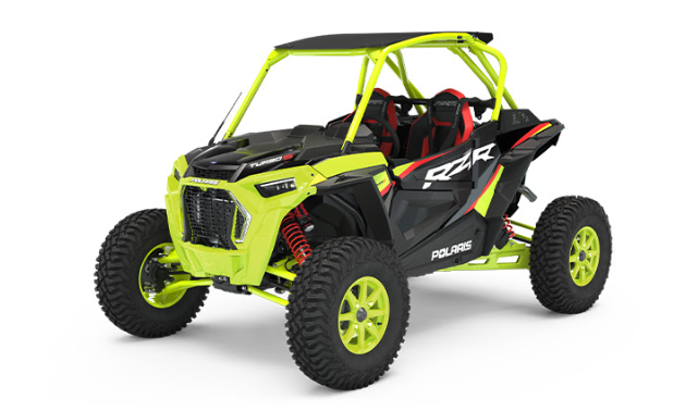 All-New RZR Turbo S LE  Stand out from the pack with the Lifted Lime premium paint scheme. This Limited Edition is packed with technology including DYNAMIX, RIDE COMMAND, factory audio and more.