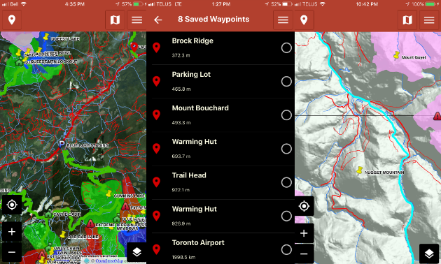 Three screenshots show top-down views and names of trails.