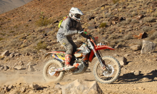 Florian Schwarz races through rocky sections of the Best in the Desert Vegas to Reno race.