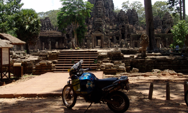 Two wheels can take you anywhere in the world, including Angkor Wat, Cambodia.