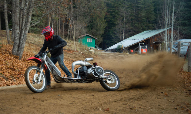 Ethan Schlussler rides a powered-up off-road scooter.