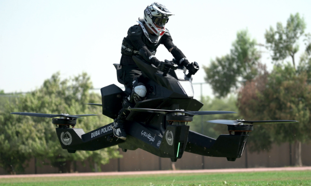A true all-terrain vehicle—the hoverbike doesn't even need terrain—it flies!
