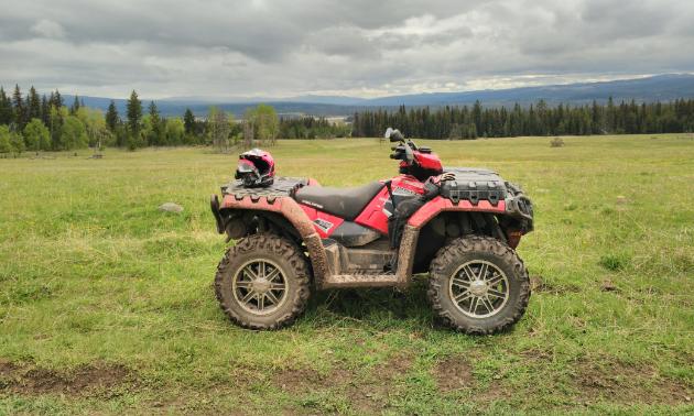 An ATV on grassland.