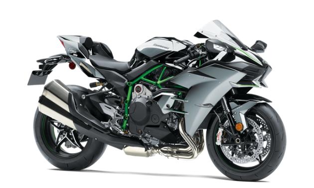 A grey, green and black 2021 Kawasaki Ninja H2 motorcycle.