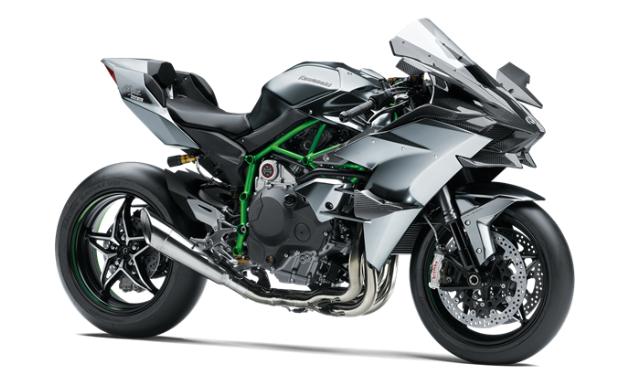 A grey, green and black 2021 Kawasaki Ninja H2R motorcycle.