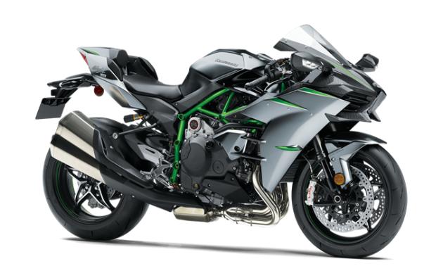 A grey, green and black 2021 Kawasaki Ninja H2 Carbon motorcycle.