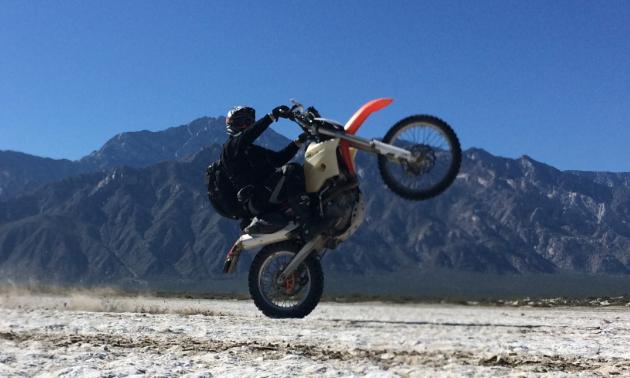 Shawn Handley pops a wheelie in Baja, Mexico.